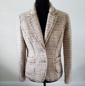 B2G1 Coldwater Creek Tweed Cream Wool Blend Blazer